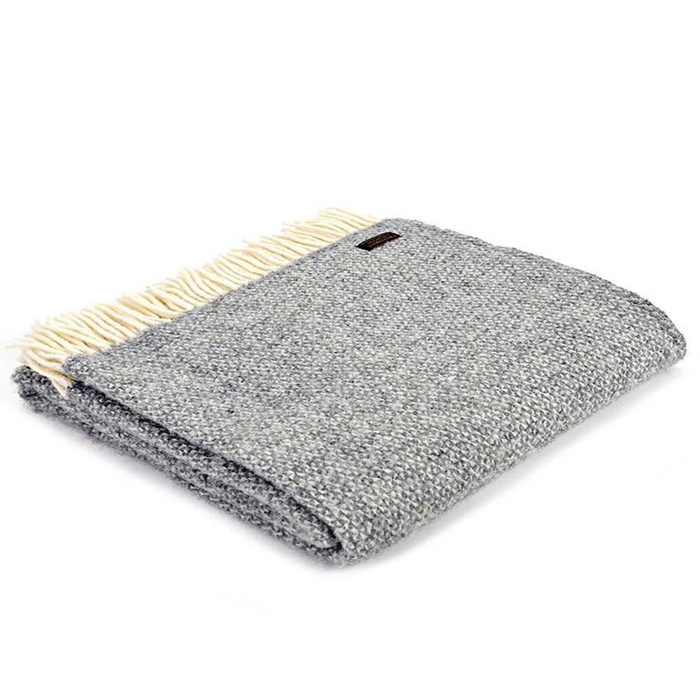 Grey Illusion Pure Wool Throw Blanket
