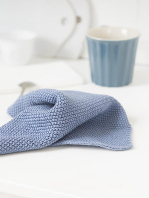 Load image into Gallery viewer, Set of 2 Cornflower Blue Melange Knitted Cotton Wash Dish Cloth