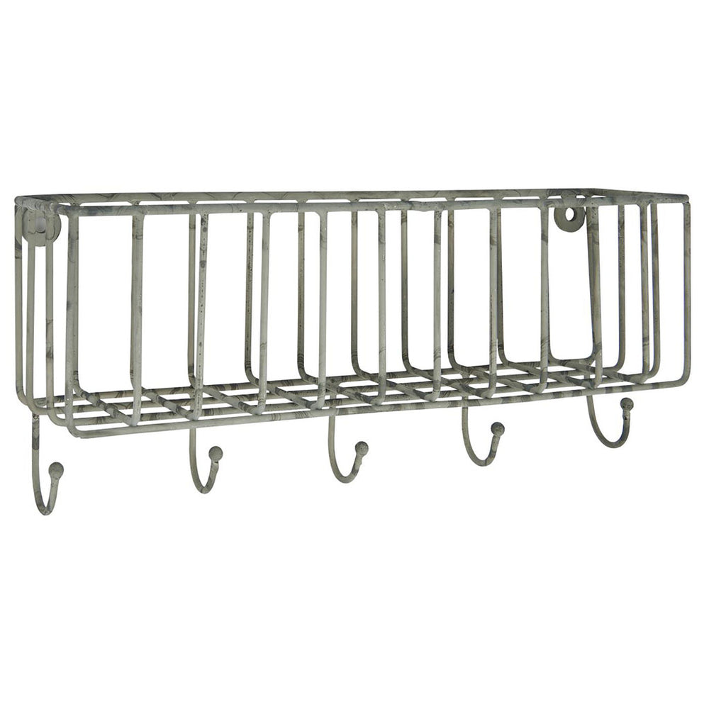 Silver Hanging Wire Wall Basket with 5 Hooks