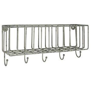 Load image into Gallery viewer, Silver Hanging Wire Wall Basket with 5 Hooks