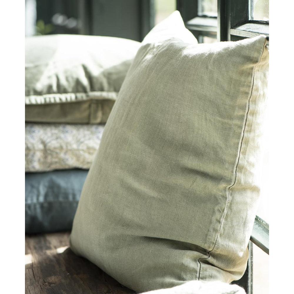 Load image into Gallery viewer, Olive Green Linen Cotton Cushion Cover
