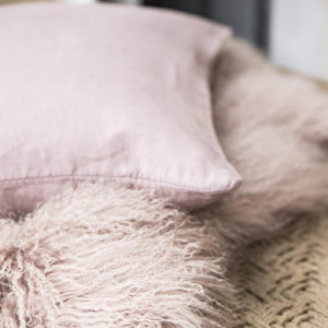 Malva Pink Linen Cushion Cover, 40 x 60 cm