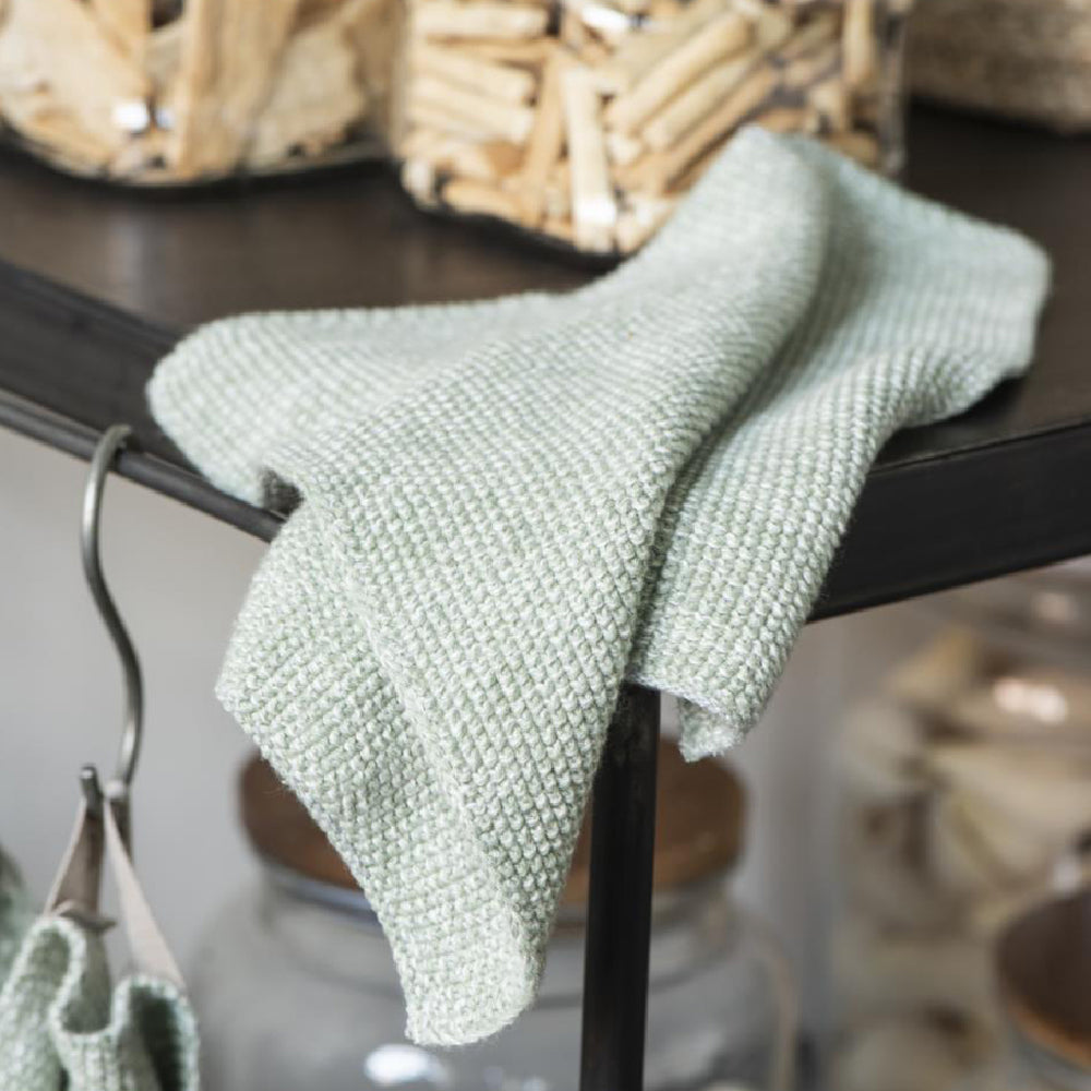 Load image into Gallery viewer, Spring Green Melange Knitted Cotton Dish Wash Cloth