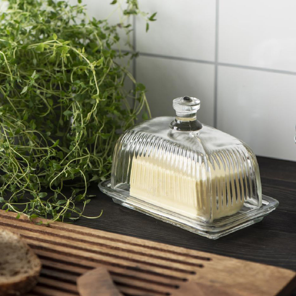 Load image into Gallery viewer, Classic Grooved Glass Butter Dish