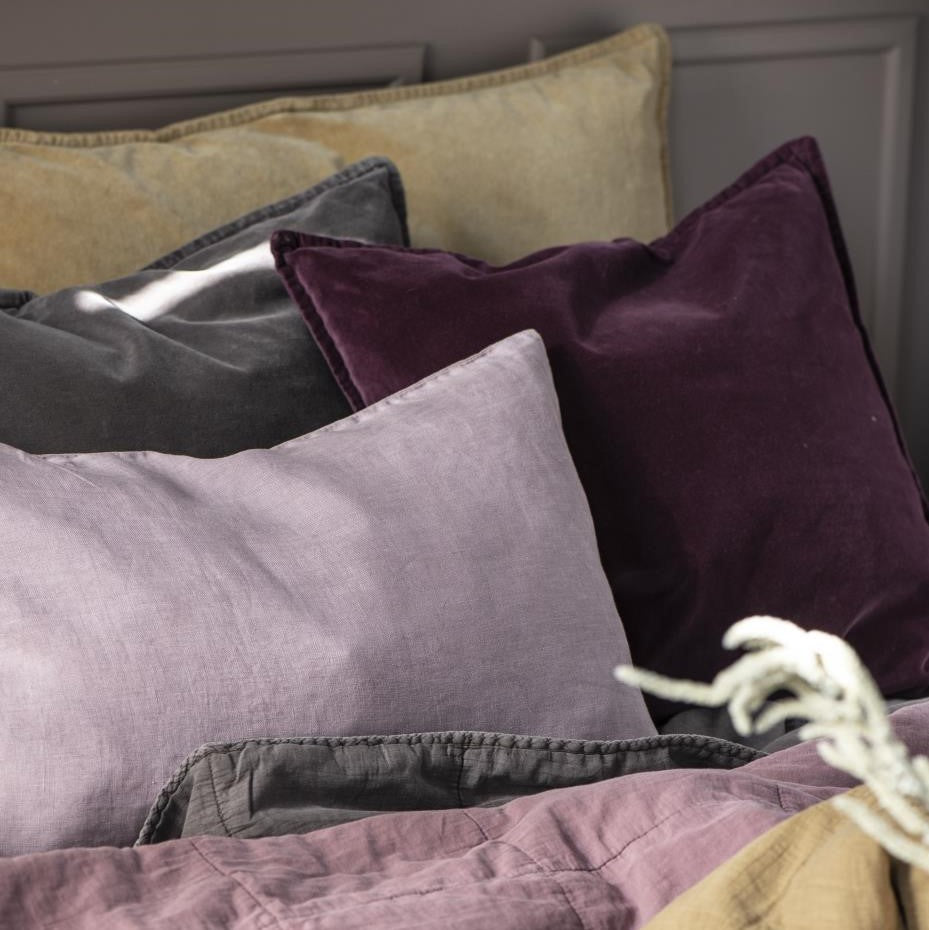 Load image into Gallery viewer, Aubergine Cotton Velvet Cushion Cover, 50 x 50 cm