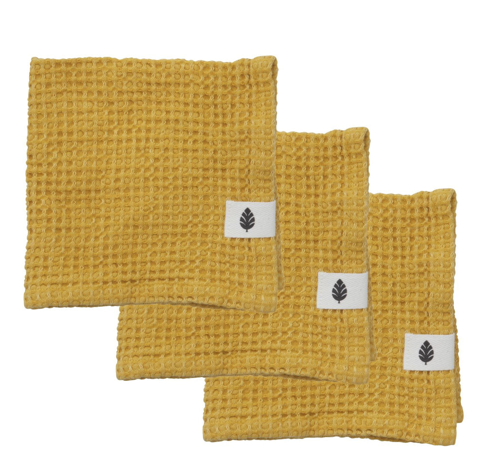 Set of 3 Organic Cotton Yellow Ochre Waffle Wash Cloths, 35 x 35 cm