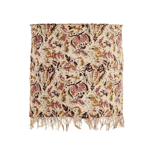 Rose, Mustard and Ruby Wine Floral Block Print Cotton Ceiling Lampshade