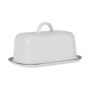 Enamel butter dish - chalk white