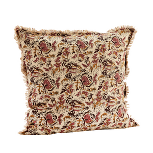 Rose, Mustard and Ruby Floral Block Print Cotton Cushion Cover, 50 x 50 cm