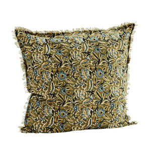 Olive Green Floral Print  Fringed Cotton Cushion Cover 50 x 50cm
