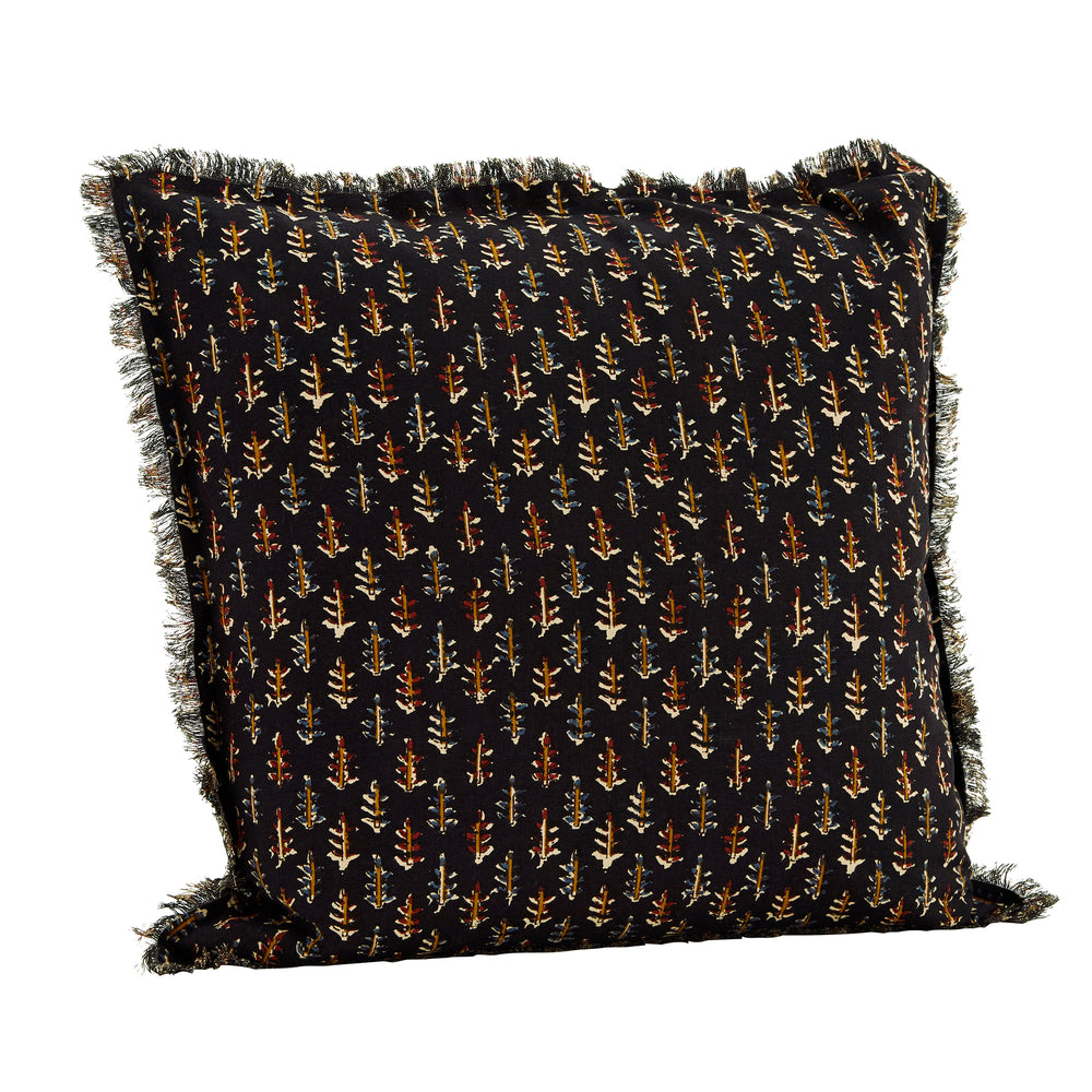 Copy of 50 x 50 cm, Black, Fringed Cushion Cover with Sprig Pattern
