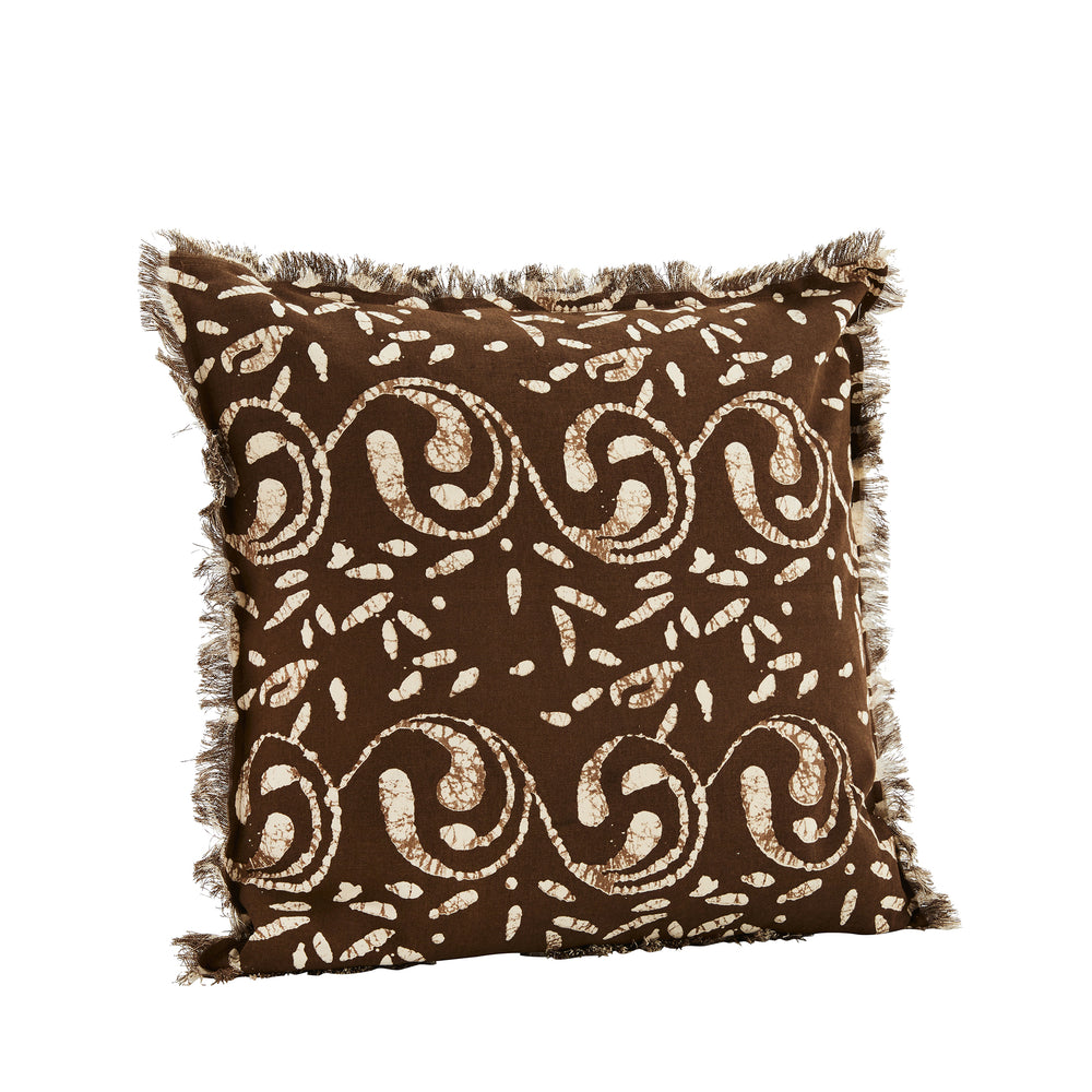 Chocolate brown and off-white batik pattern, cushion cover with fringe edge. Madam Stoltz. Ethnic. Boho.