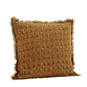 50 x 50 cm, Gingerbread Fringed Cushion Cover with a Sprig Pattern