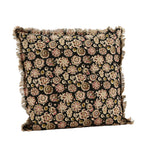 Fringed block-printed cushion with a rough floral print in black, pink, olive green and ecru. Retro 80s, ethnic. Madam Stoltz. 50x50cm.