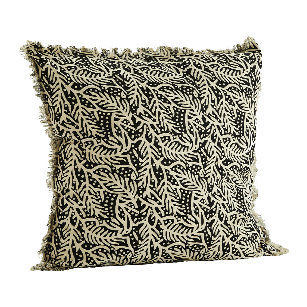 50 x 50 cm Off White & Black Print Cotton Fringed Cushion Cover