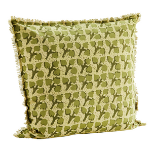 60 x 60 cm Block Print Leaf Green Cushion Cover