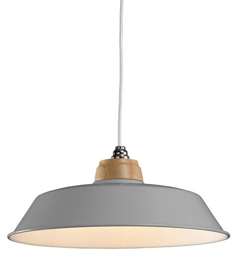 """Jakob"" Easy Fit Metal and Wood Pendant Shade, Grey or Ivory"