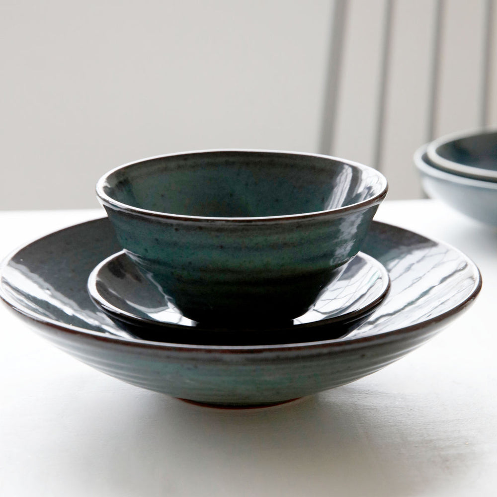 Load image into Gallery viewer, Set of 2 Blue/Green Glaze Handmade Terracotta Bowls