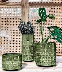 Short Green Glazed Plant Pot With Face Imprint