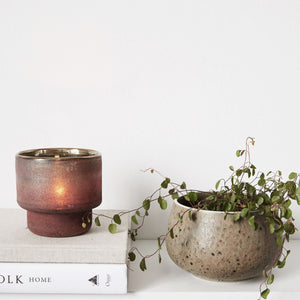 'Forrest' Henna Iridescent Glass Tealight Holder
