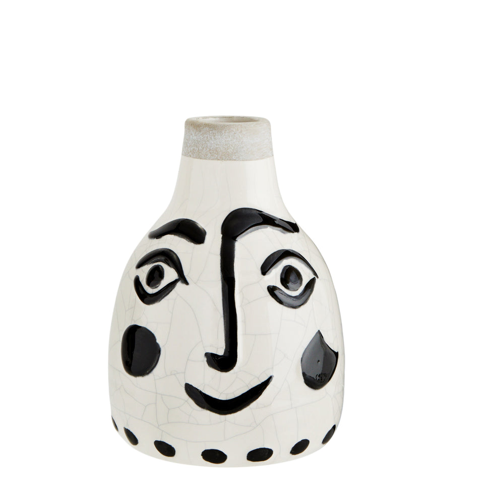 Load image into Gallery viewer, Black & White Stoneware Face Vase