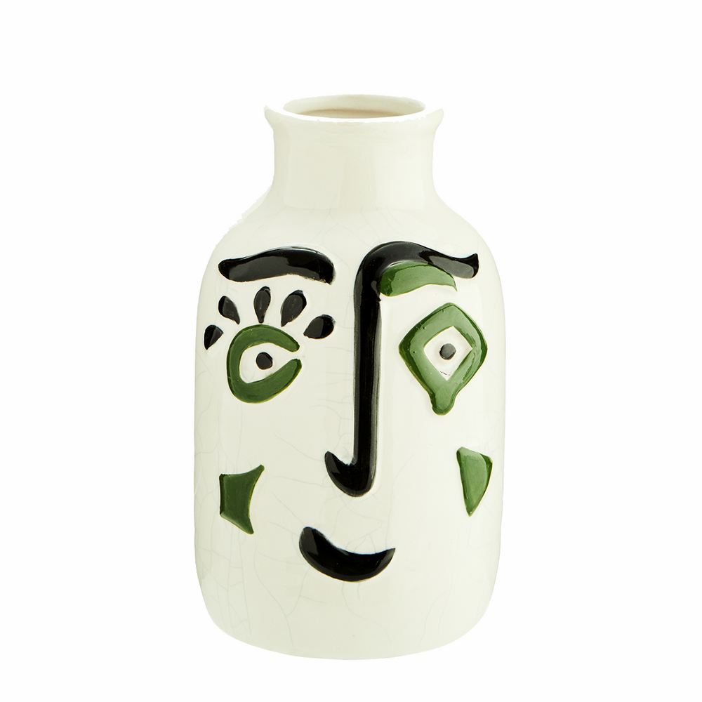 Glazed Stoneware Painted Face Vase