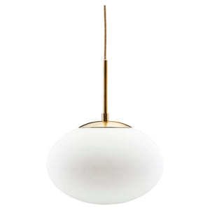 Opal White & Brass Pendant Light 30 x 35cm