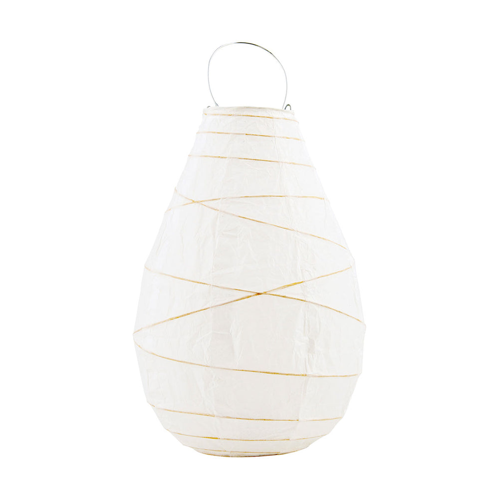 Set of 3 White Peardrop Paper Tealight Lantern 24cm