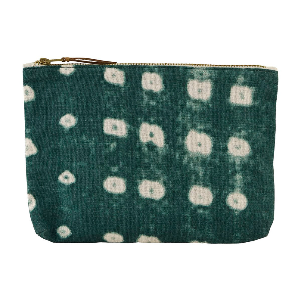 Load image into Gallery viewer, Green Cotton Batik Cosmetic Bag With Zip