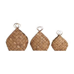 Set of 3 Woven Pine Conical Baskets