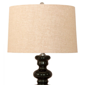 Clifton Dark Green Lamp with Linen Shade