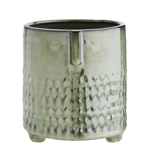 Green Glazed Flower Pot Vase With Face Imprint