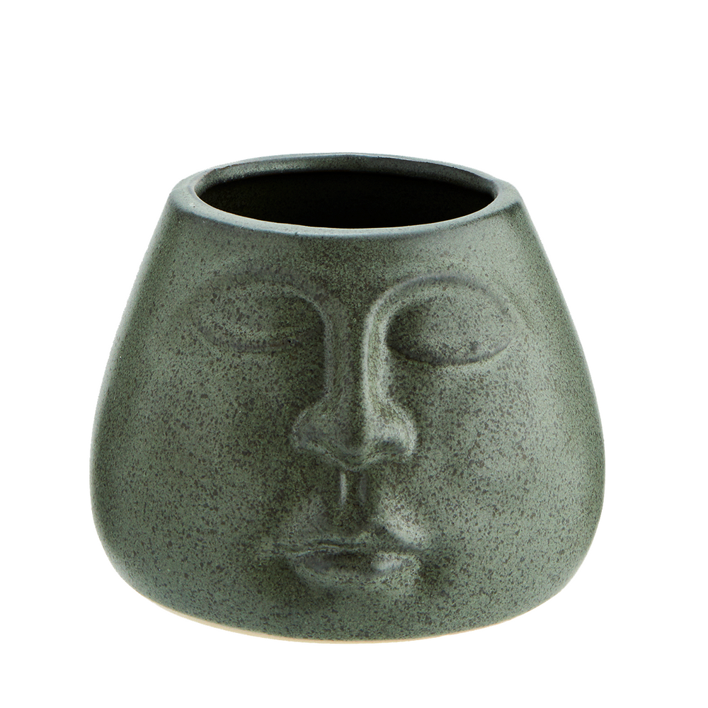 Load image into Gallery viewer, Matte green Peaceful Face Stoneware Pot