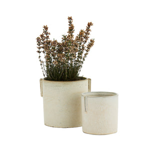 Load image into Gallery viewer, Set of 2 Stoneware Off-white Glazed Planters