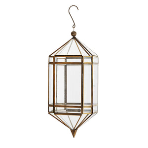 Load image into Gallery viewer, Hanging Brass & Glass Lantern, D 14 h 37