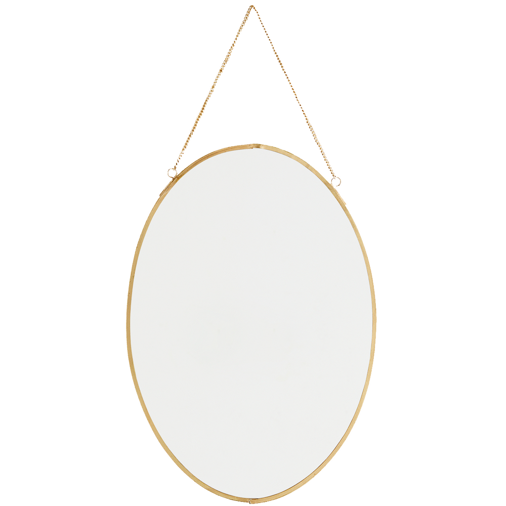 Oval Brass Hanging Mirror, 21 x 30 cm