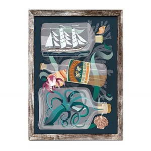 Load image into Gallery viewer, 'Barrilito' Ship In A Bottle Pirate Illustration Digital Print A4