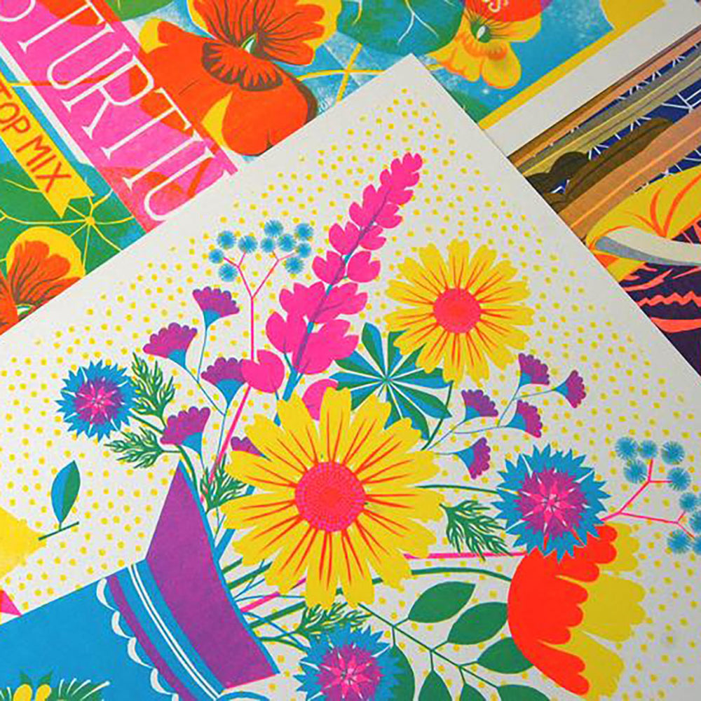 Summer Blooms Original Botanical Risograph Print A3