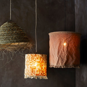 Fringed Floral Lampshade for Pendant, Ochre & Brown Sugar