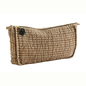 Stonewashed Burnt Sugar Quilted Linen Toiletries Bag with Tassel