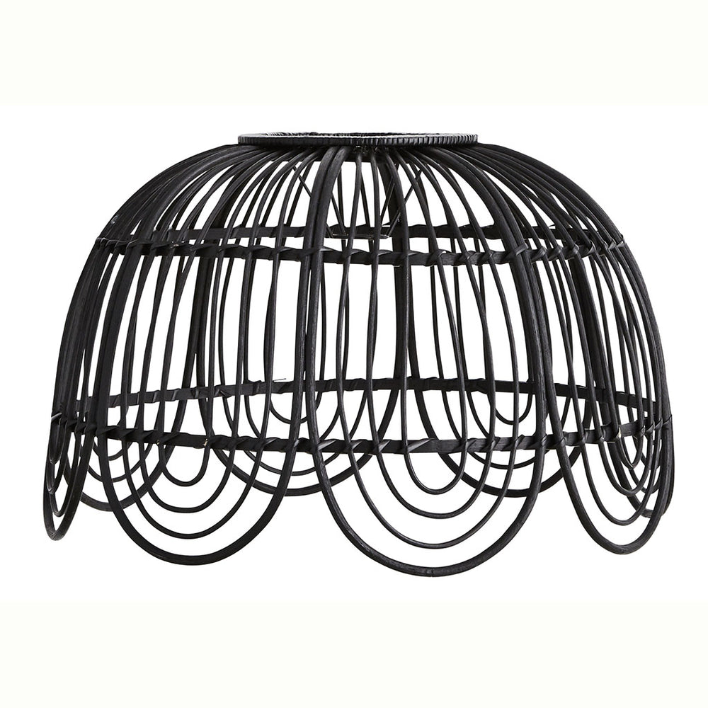 Load image into Gallery viewer, Black Rattan Lampshade 49cm D