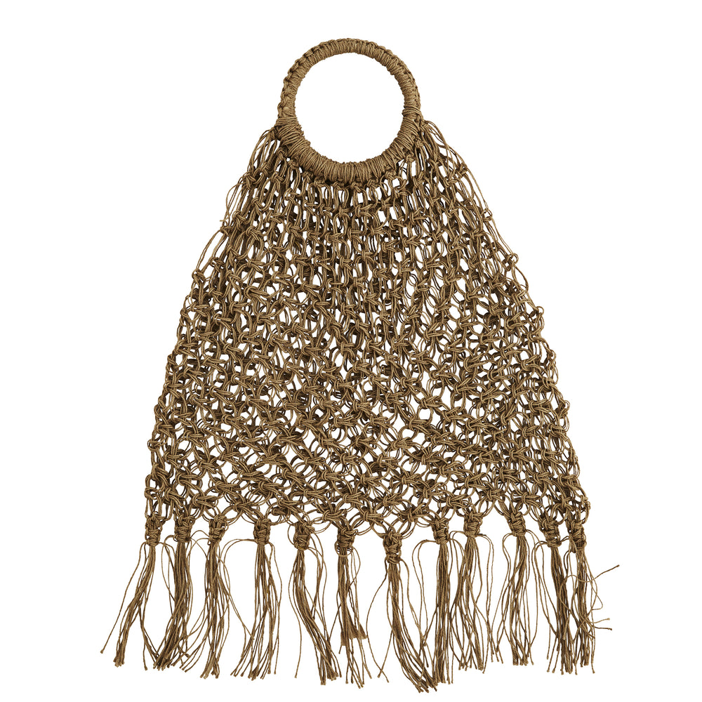 Load image into Gallery viewer, Boho Jute Macrame Bag With Fringes
