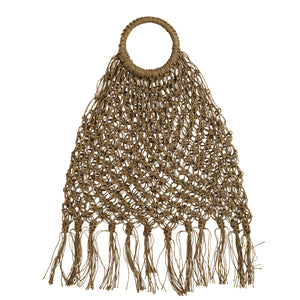 Boho Jute Macrame Bag With Fringes