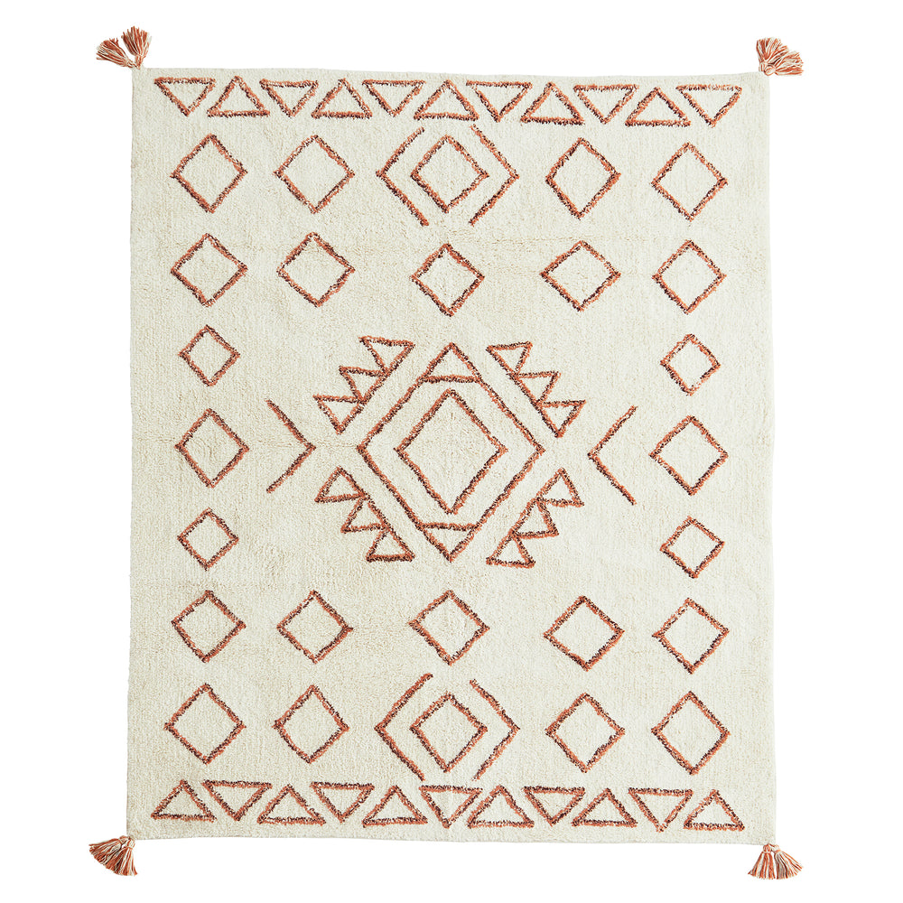Load image into Gallery viewer, Boho Tufted Cotton Rug Orange & Off-White 140x200cm