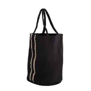 Black woven cotton bag with braided handles and two vertical natural jute stripes on each side.