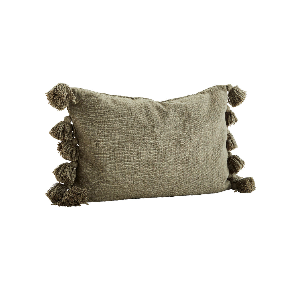 Olive Green Cotton Cushion Cover with Tassels, 40 x 60 cm