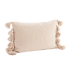 Powder Pink Cotton Cushion Cover with Tassels, 40 x 60 cm