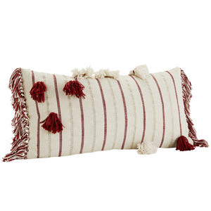 35 x 70 cm Off white, Paprika & Gold Cotton Chenille Cushion cover
