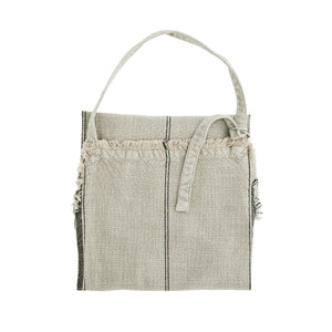 Natural Off-white Cotton Apron with Black Stripe & Fringe