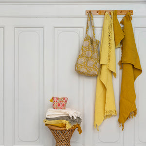 Curry Yellow Lacquered Coat Hanger Rack with 6 Pegs